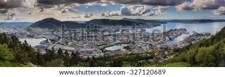 View from Floien in Bergen, Norway - stock photo