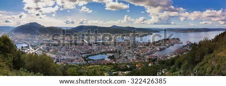 View from Floyen in Bergen Norway - stock photo