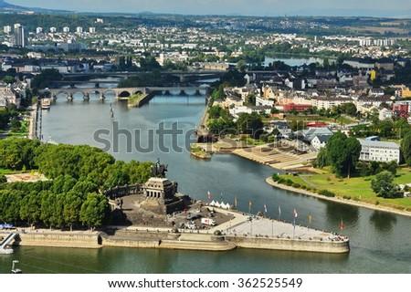 View from Fortress Ehrenbreitstein in Koblenz- Germany -Deutsches Ecke (German Corner) in Koblenz, Germany. - stock photo