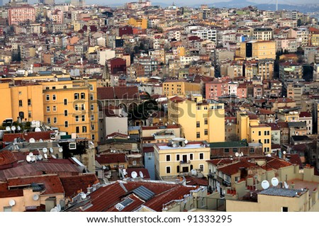 View from Galata tower to city of Istanbul, Turkey - stock photo