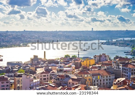 View from Galata tower to Golden Horn, Istanbul, Turkey - stock photo