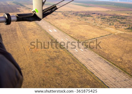 view from glider on the runway - stock photo