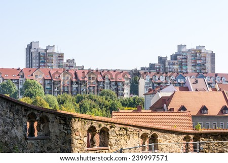 View from Goerlitz in Saxony to a housing blocks in the town of Zgorzelek in Poland - stock photo