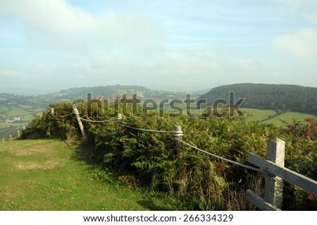 View from  Golden Cap on Dorset coastal path - stock photo