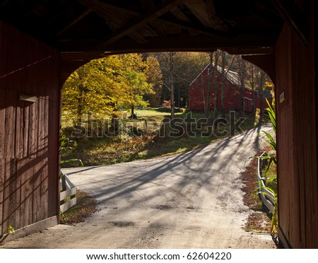 View from Green River Covered Bridge - stock photo