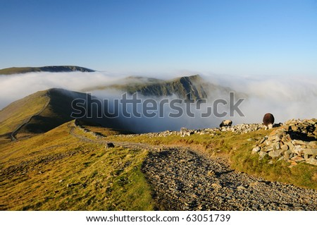 View from Grisedale Pike towards Hopegill Head above a temperature inversion in the English Lake District