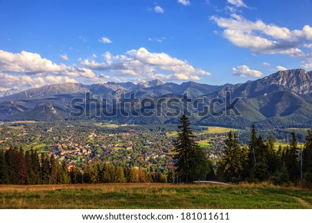 View from Gubalowka on the most popular mountains in Poland.  - stock photo