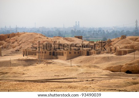View from Hatshepsut's temple.  Valley of the Kings.   Luxor, Egypt, Africa. - stock photo