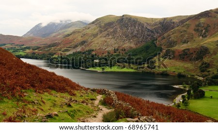 View from Haystacks path of Crummock Water towards Buttermere, Lake District, England - stock photo