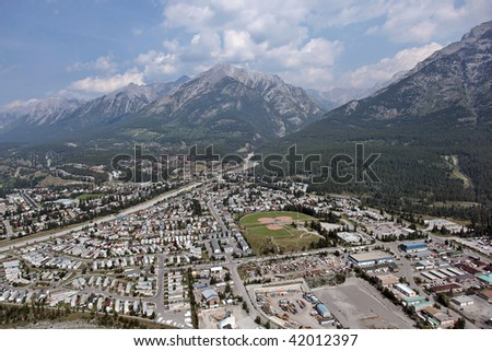 View from helicopter in Banff National Park, Canada - stock photo