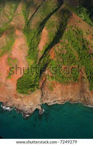 View from helicopter of coastline - stock photo
