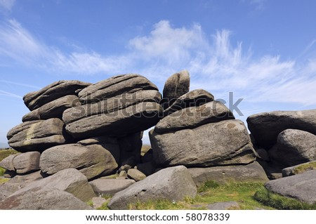 View from Higger Tor on Hathersage Moor in Peak District National Park Derbyshire England
