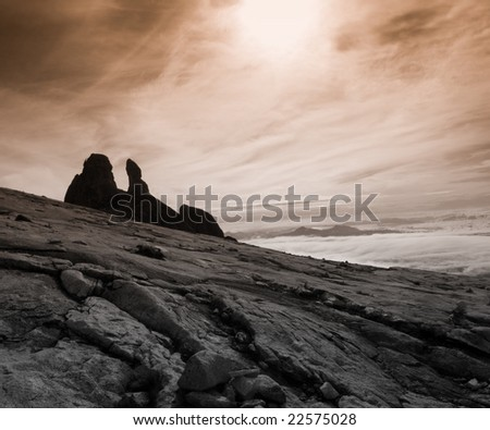 View from highest mountain in south east asia - stock photo