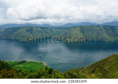 View from hills on an island Samosir to the Taba lake, Indonesia