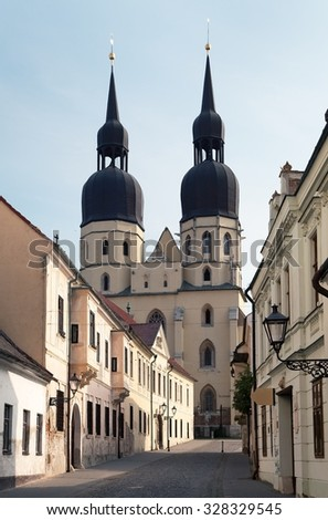 View from historic town Trnava, Beautiful city in Slovakia - stock photo