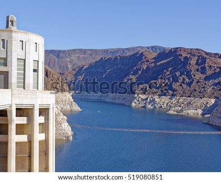 View from Hoover Dam of Lake Mead on the borders of Arizona and Nevada