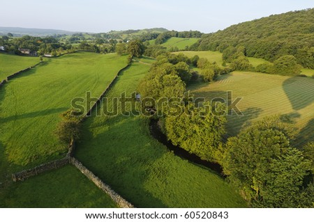 View from hot air balloon in the Lake District National Park Cumbria England