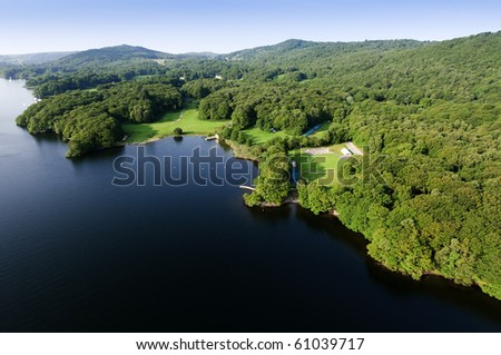 View from hot air balloon in the Lake District National Park Cumbria England - stock photo