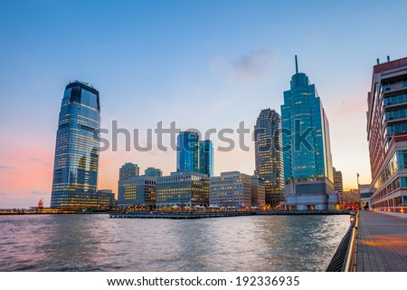 View from Hudson River Waterfront Walkway in Jersey City. - stock photo