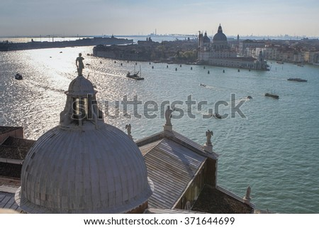 View from hurch San Giorgio Maggore in Venice, Veneto, Italy on the waterfront of the lagoon - stock photo