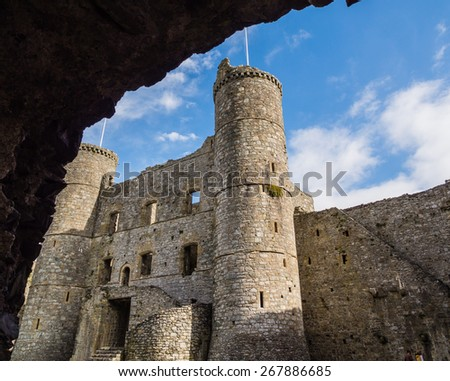 View from inner courtyard of Harlech castle in Wales - stock photo