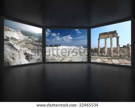 View from inside of dark room on three media screens. For other similar images from the series, please, check my portfolio. - stock photo