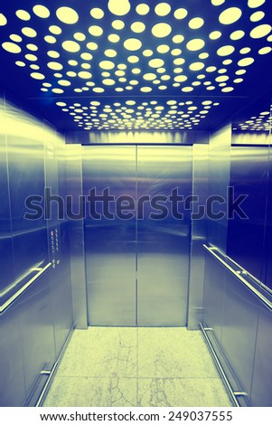 view from inside the elevator