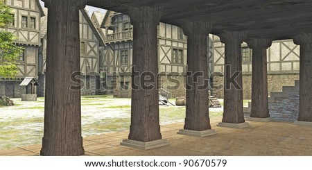 View from inside the market hall in the centre of a Medieval or fantasy style town towards the open marketplace, 3d digitally rendered illustration - stock photo
