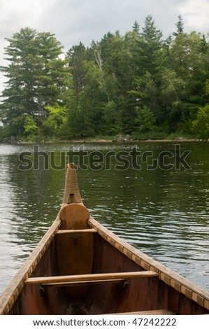view from inside the voyager canoe in Voyagers National Park - stock photo