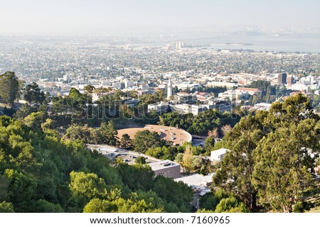 view from Inspiration Point of the University of California at Berkeley's campus - stock photo