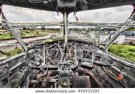 View from interior of an abandoned WW2 plane
