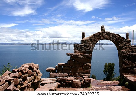 View from isla del sol Lake Titicaca - stock photo