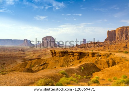 view from john fords point to the giant Merrick buttes,  sandstone formations in the Monument valley - stock photo