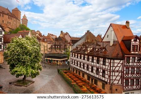 View from Kaiserburg of Fachwerk houses, Nuremberg - stock photo