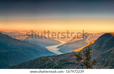 View from kalinchok Photeng towards the Kathmandu valley, Nepal - stock photo