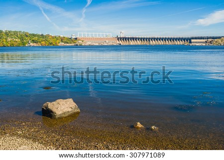 View from Khortytsia island to Hydroelectric Station on the Dnepr River, Zaporizhia, Ukraine
