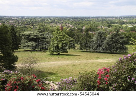 View from King Henry's Mound viewpoint near Pembroke Lodge in Richmond Park near London