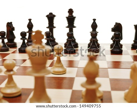 view from king of first move pawn on chess board close up - stock photo