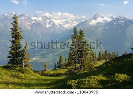 view from Kitzbuheler Alpen to Hohe Tauern with GrossGlockner, Kitzsteinhorn and Gross Wiesbachhorn - - stock photo
