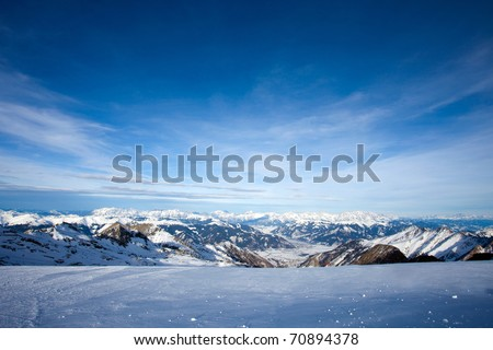 View from Kitzsteinhorn peak over the Kaprun and Zell Am See ski resorts