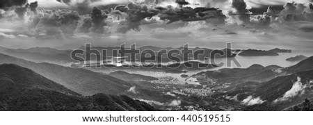 View from Kowloon Peak (Fei ngo shan) - stock photo
