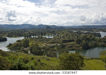 View from La Piedra Del Penol overlooking Guatapé - stock photo