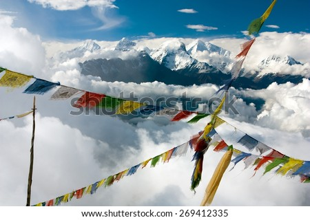 view from Langtang to Ganesh Himal with prayer flags - Nepal