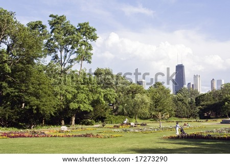 View from Lincoln Park - Chicago, IL. - stock photo
