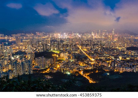 View from Lion Rock at twilight , Hong Kong