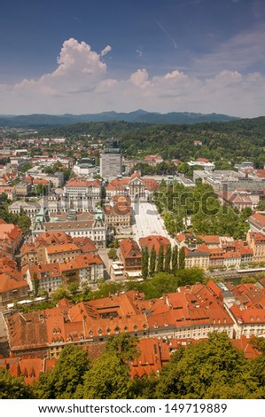 View from Ljubljana Castle. Panorama of the city.