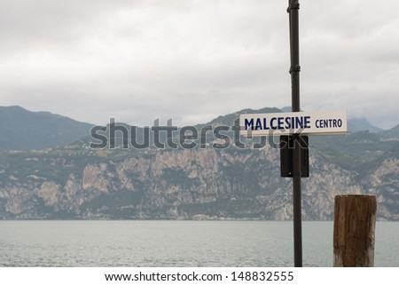 View from Malcesine harbour on Lake Garda - stock photo