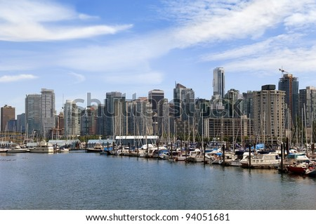 view from marina on modern Vancouver