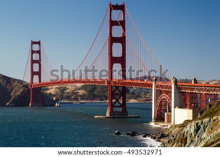 View from Marshalls Beach on the Golden Gate Bridge in San Francisco, California, USA on a cloudless evening.