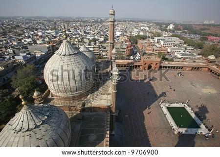 View from minaret tower atJama Masjid, Delhi, India - stock photo